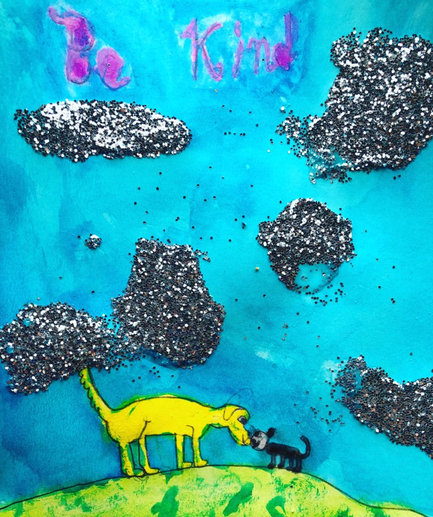 """Be Kind""-A Child's Painting of a Golden Retriever and Black Cat Rubbing Noses"