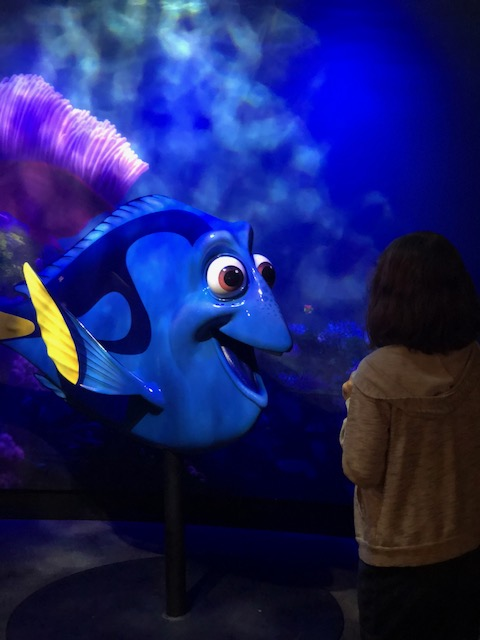 "Dory, from ""Finding Nemo"" and ""Finding Dory"" with Mo."