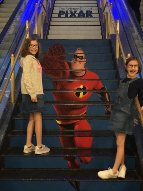Mr. Incredible on the stairs of the MSI leading to the Main Level.